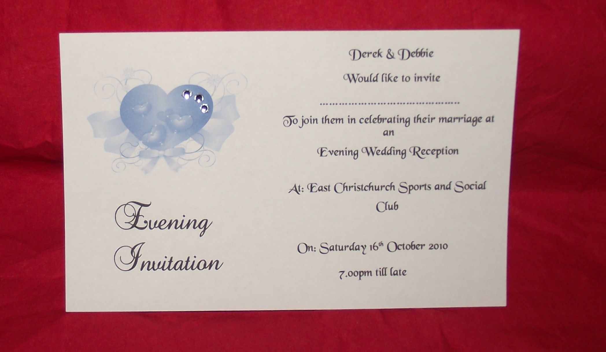 wedding invitations day or evening personalised elegant heart